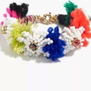 🔥EUC JCrew Flower Bead Multicolor PomPom Bracelet